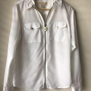 Michael Kors white zipper blouse